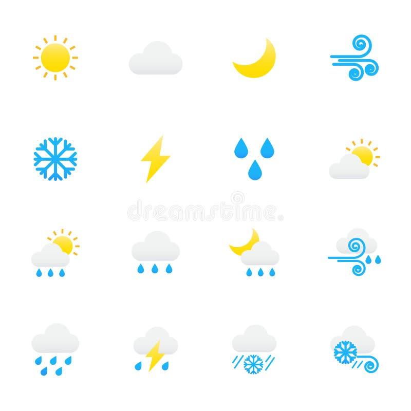 väder för sun för oklarhetssymbolsregn Uppsättningen av symboler för färg för illustration för säsongsymbolsvektor sänker stil vektor illustrationer