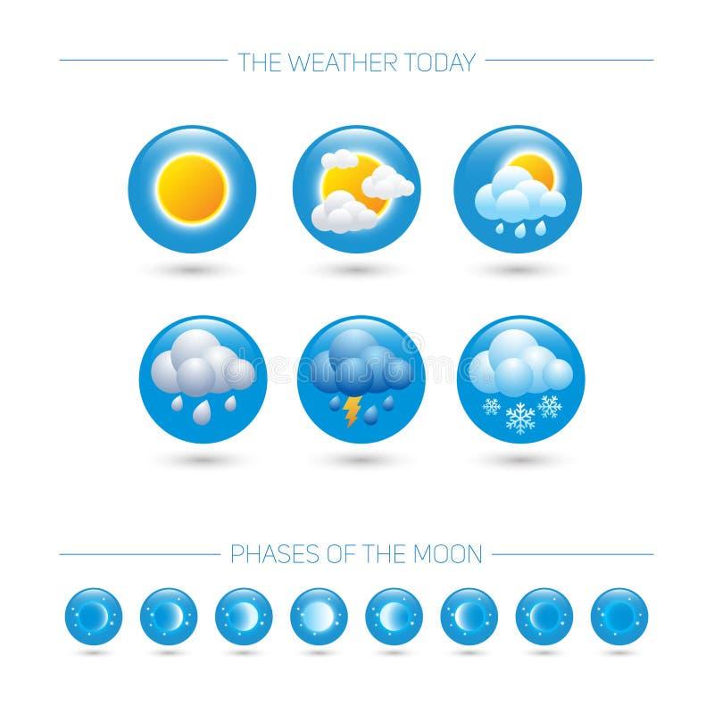väder för sun för oklarhetssymbolsregn Väderemblem Runda symboler med vädersymboler och faser av månen stock illustrationer