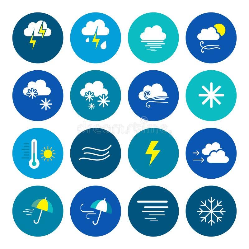 väder för sun för oklarhetssymbolsregn Väderemblem Runda symboler med vädersymboler och faser av månen vektor illustrationer
