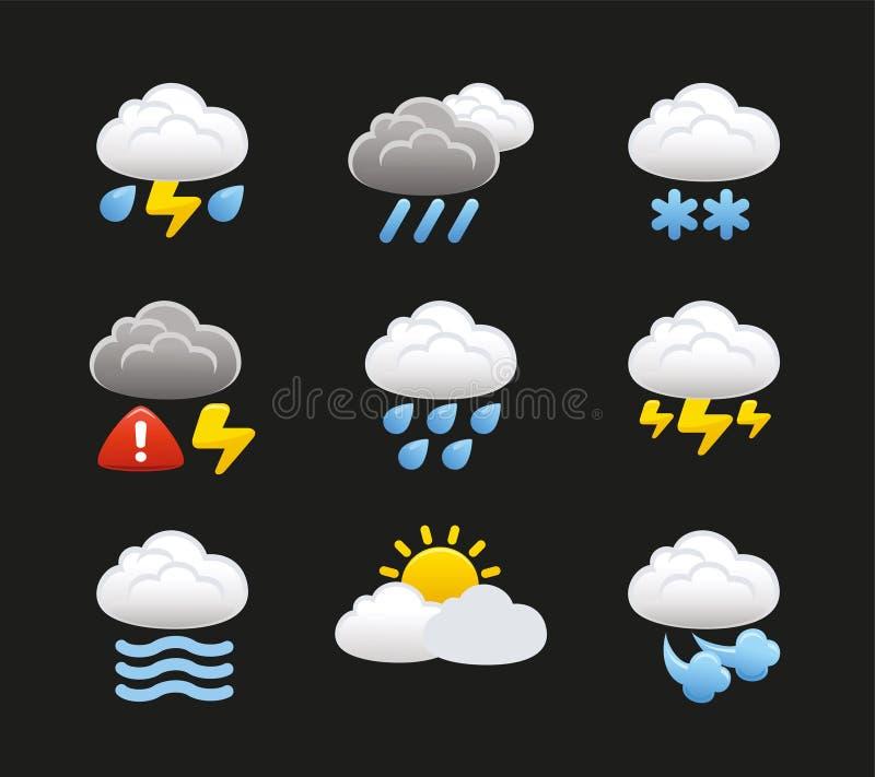 Väder med molnsymboler royaltyfri illustrationer