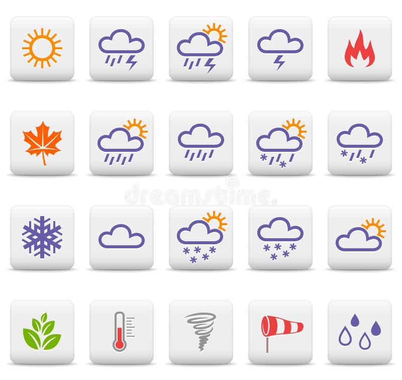 Väder- och säsongsymboler royaltyfri illustrationer