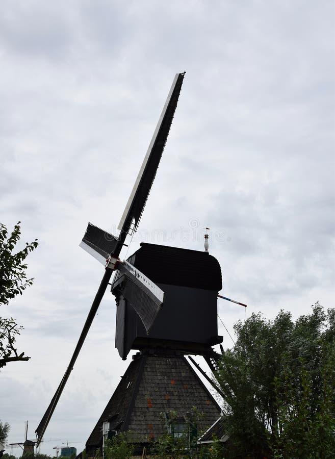 Väderkvarn i Kinderdijk, Nederländerna royaltyfria bilder