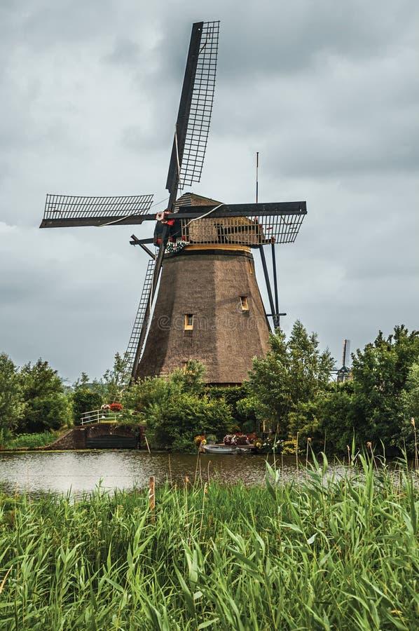 Väderkvarn och högväxta buskar på banken av en stor kanal i en molnig dag på Kinderdijk arkivbild