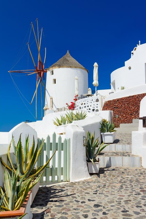Väderkvarn på gatorna av Oia, santorini, Grekland, Caldera, Aegea royaltyfria bilder