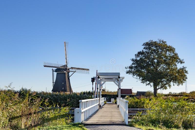 Väderkvarn på Kinderdijk, Nederländerna arkivbilder