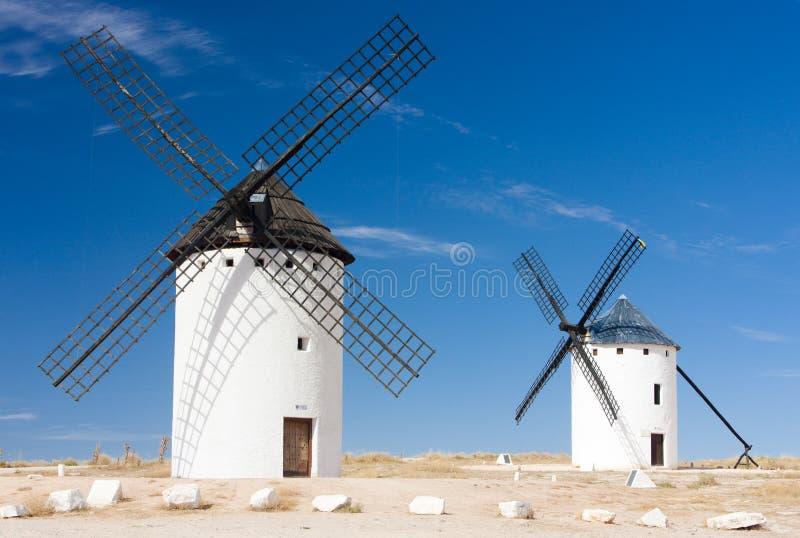 väderkvarnar Campo de Criptana, Castile-La Mancha, Spanien royaltyfri bild