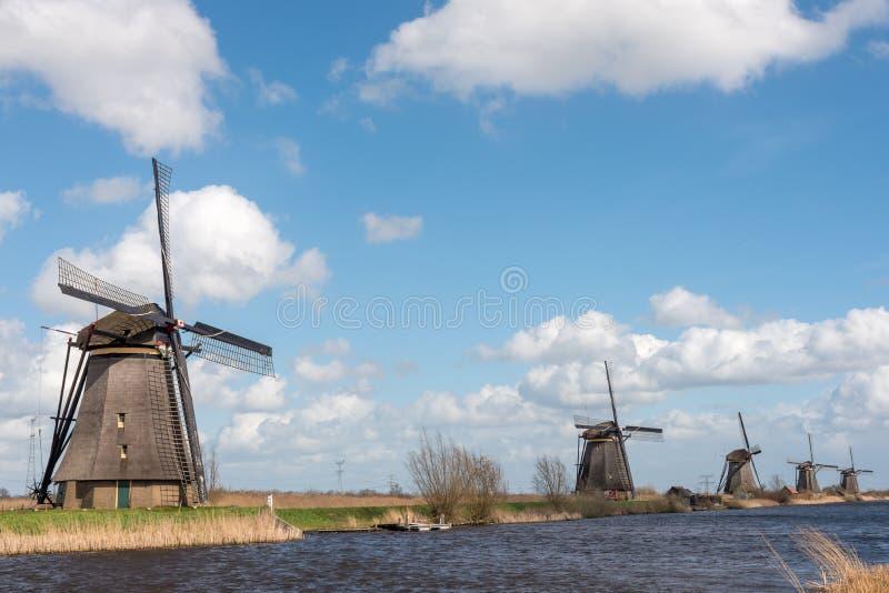 Väderkvarnar i Kinderdijk nära Rotterdam Nederländerna arkivbild