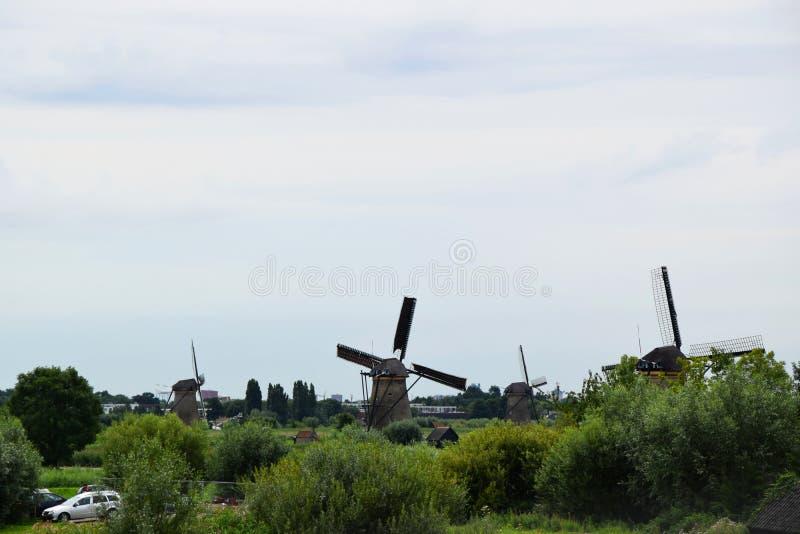 Väderkvarnar i Kinderdijk, Nederländerna royaltyfri foto