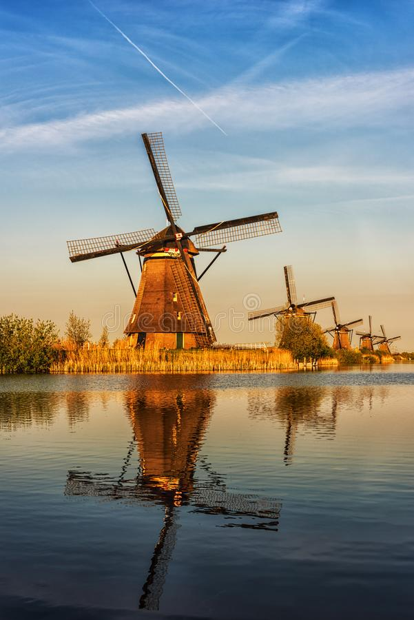 Väderkvarnar på Kinderdijk, färgrikt pittoreskt landskap, Netherland, lodlinje royaltyfria bilder