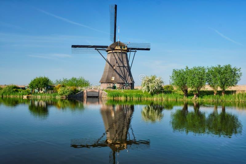 Väderkvarnar på Kinderdijk i Holland Nederländerna royaltyfri bild