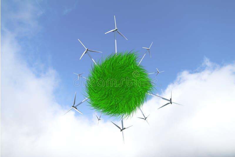 Väderkvarnar producera Electric Power, genom att spara naturen arkivbilder