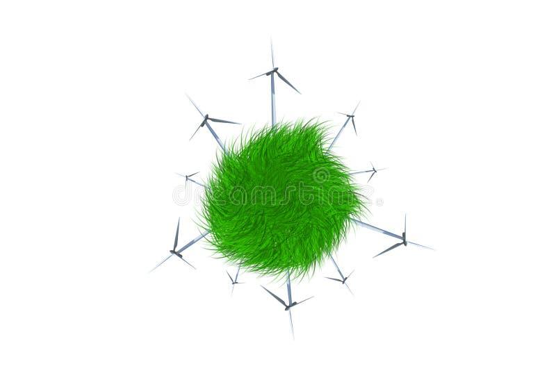 Väderkvarnar producera Electric Power, genom att spara naturen vektor illustrationer