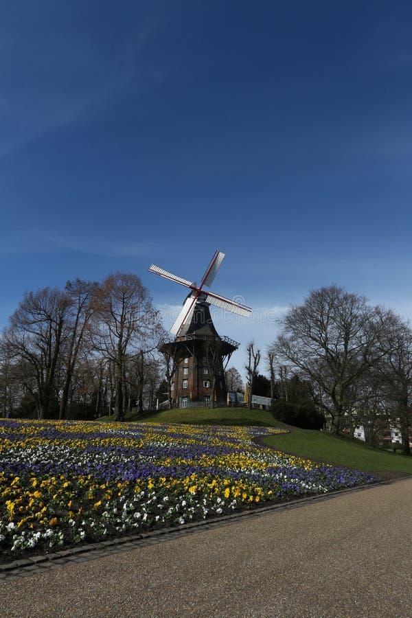 Väderkvarnen i Wallanlagen parkerar, Bremen royaltyfri bild