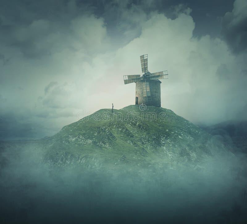 Väderkvarnen på en kulle royaltyfria foton