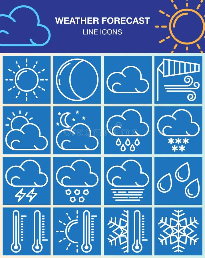 Väderprognoslinjen symboler ställde in, samlingen för översiktsvektorsymbolet, linjär vit pictogrampacke på blått stock illustrationer