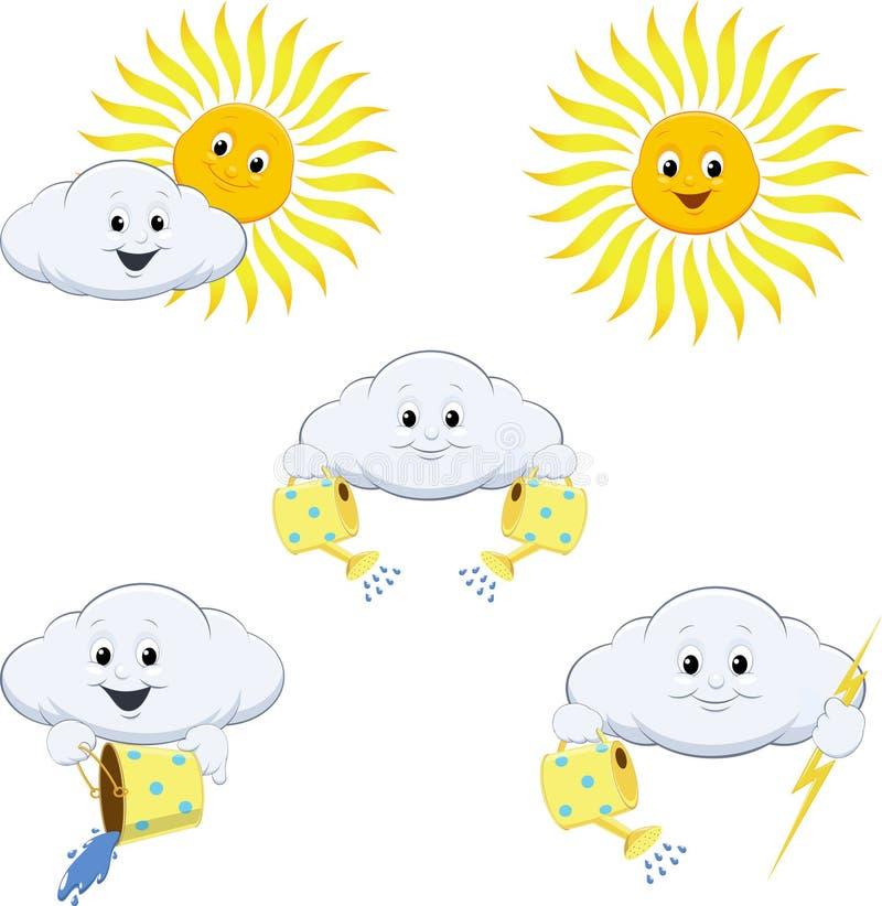 Väderprognossymboler vektor illustrationer