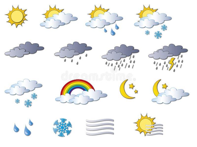 Vädersymboler royaltyfri illustrationer