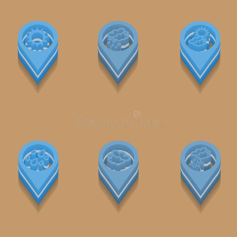 Vädersymboler i isometrisk stil royaltyfri illustrationer