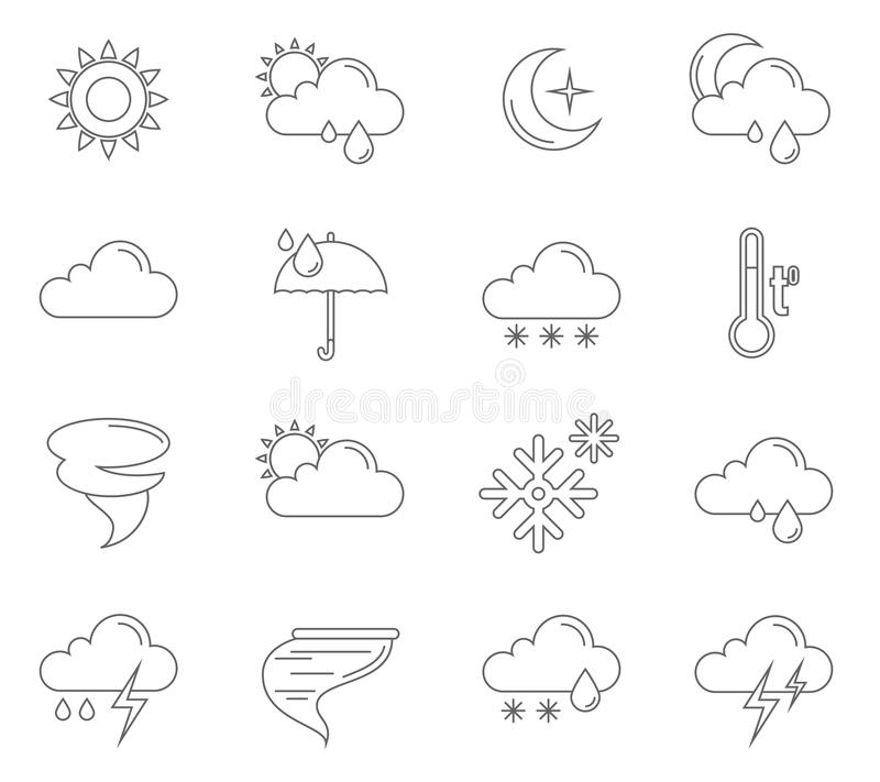 Vädersymbolsöversikt royaltyfri illustrationer