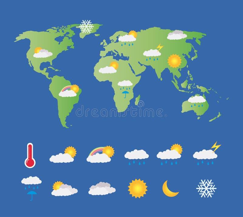Vädersymbolsuppsättning med världskartan stock illustrationer