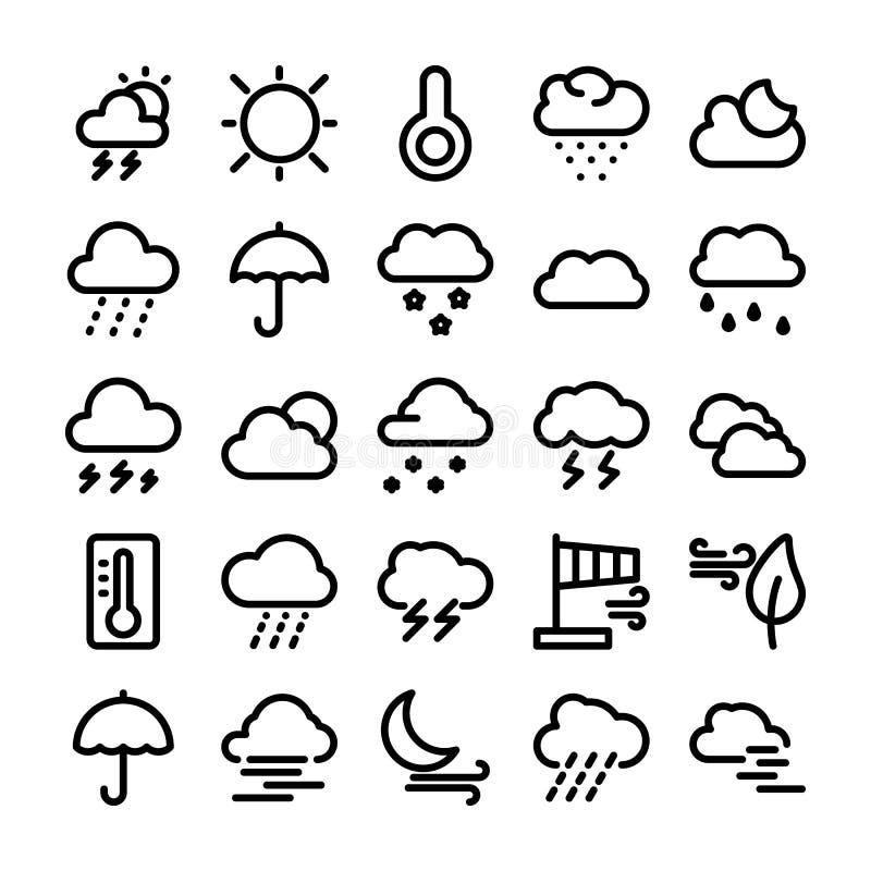 Vädervektorlinje symbolsuppsättning 1 vektor illustrationer
