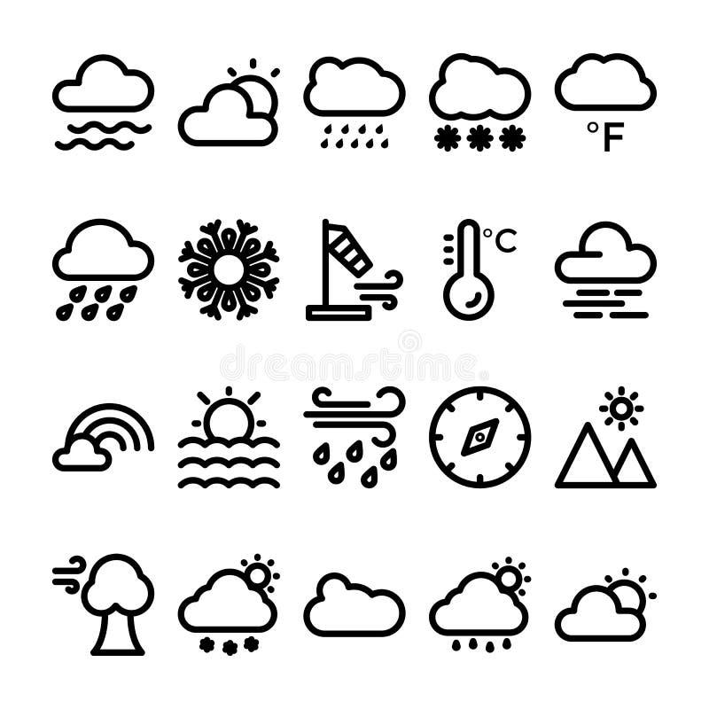 Vädervektorlinje symbolsuppsättning 2 stock illustrationer