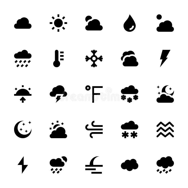 Vädervektorsymboler 1 stock illustrationer
