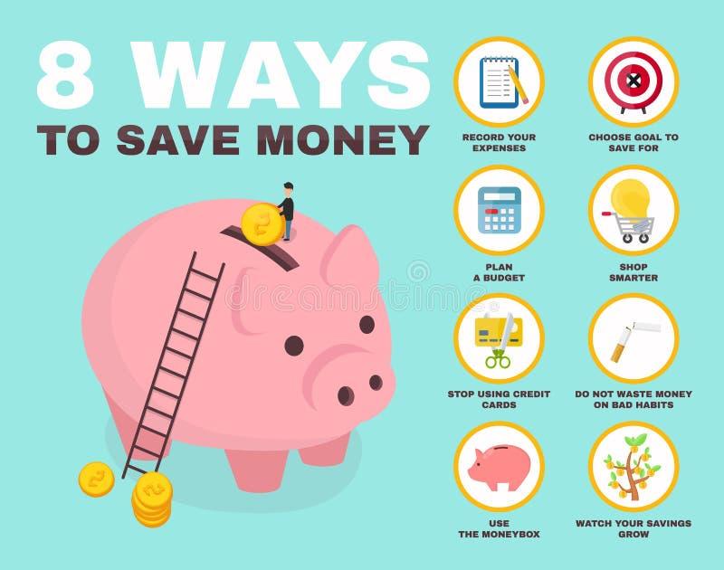 väg 8 att spara infographic pengar pig stock illustrationer