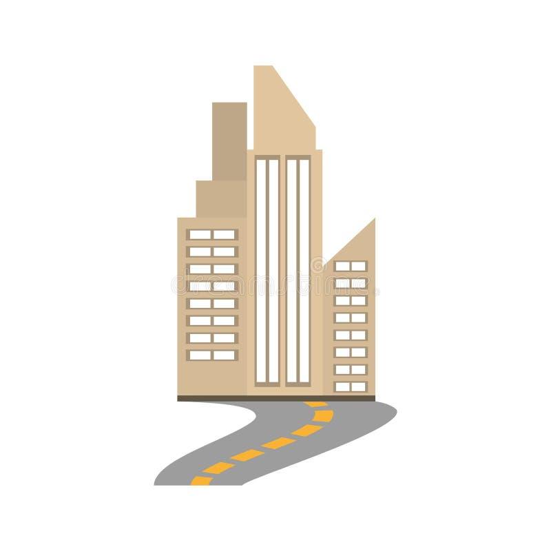 väg för byggnadsstadsfastighet royaltyfri illustrationer