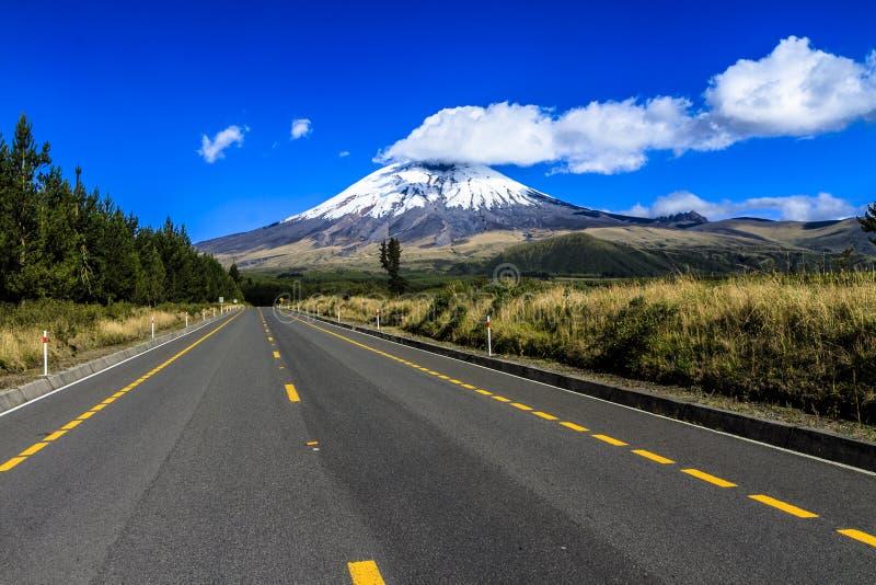 Väg för Cotopaxi vulkannationalpark royaltyfri foto