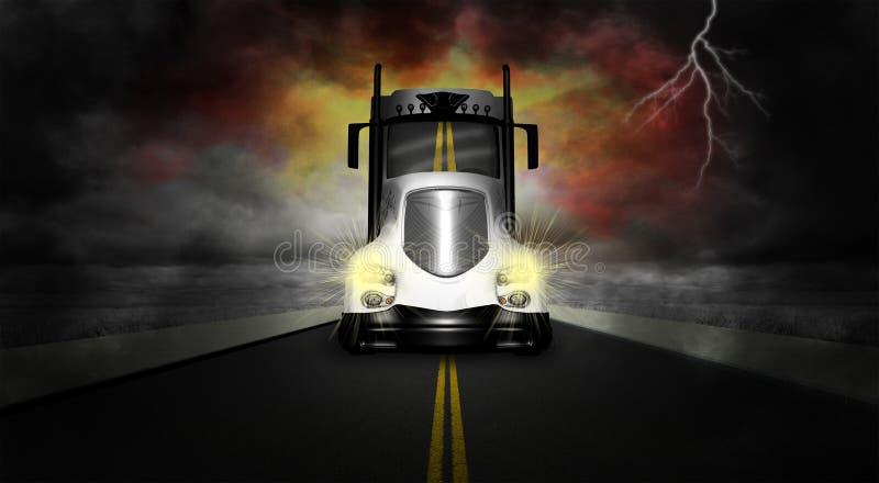 Väg för lastbil för traktorsläp halv stock illustrationer