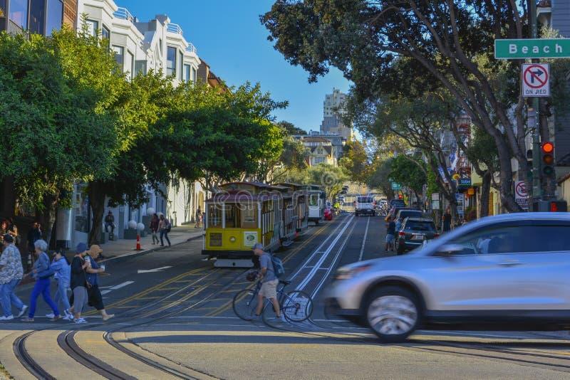Väg för spårvagn för San Francisco stad järnväg arkivbilder