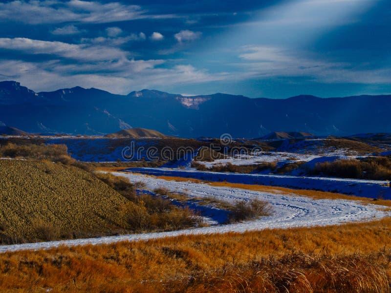 Väg för vinterljusöken arkivbilder