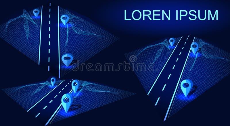 Väg huvudväg i 3D Futuristisk huddesignbeståndsdel Navigeringmetod med markörer Geolocation med lorem ipsum vektor illustrationer