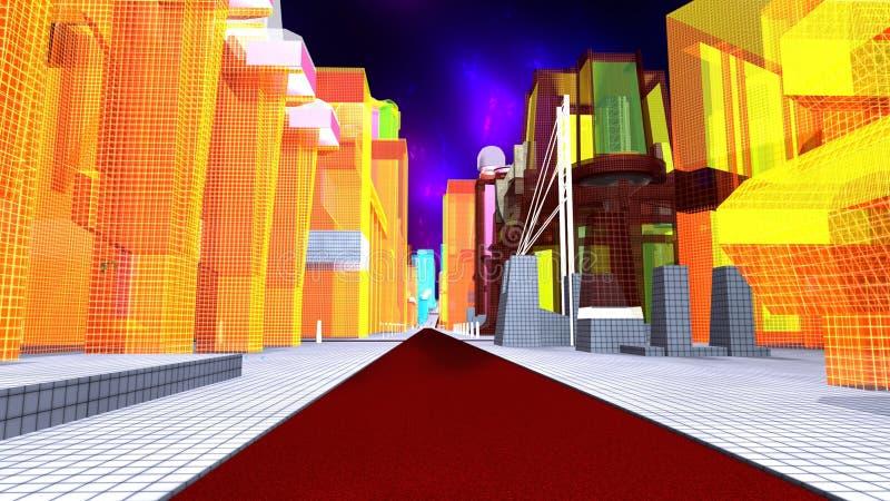 Väg i en faktisk metropolis stock illustrationer