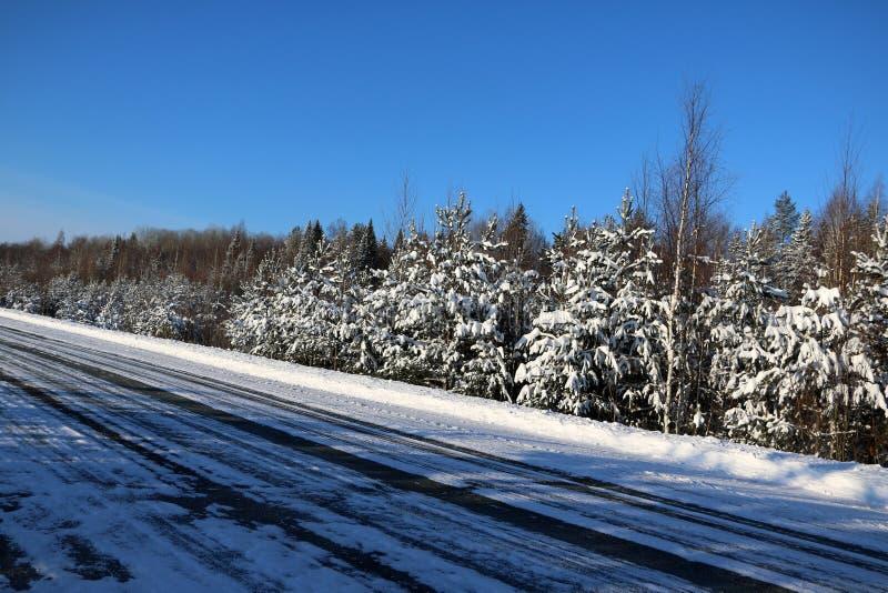 Download Väg i insnöad vinterdag fotografering för bildbyråer. Bild av december - 76701833