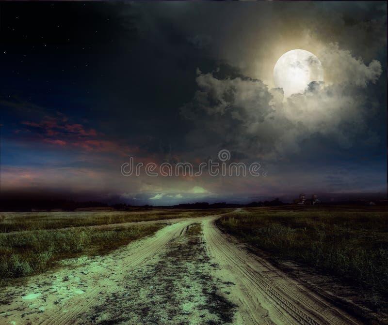 Väg i natten arkivbild