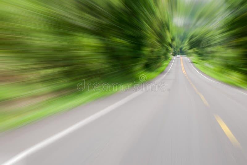 Väg i rörelsehastighet på begreppet för bakgrund för skogväg det suddiga för tunneleffekt eller visuellt tunnelfenomen royaltyfria foton