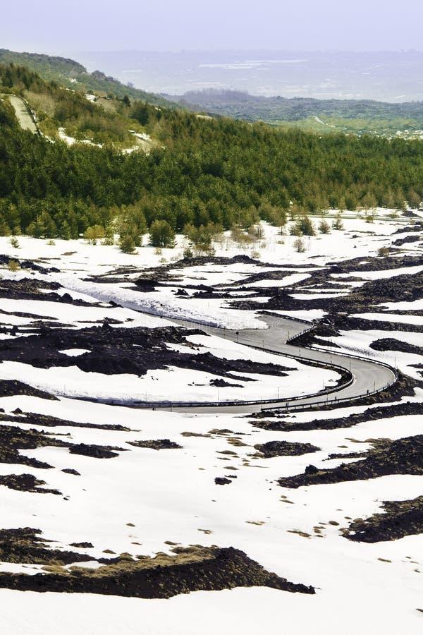 Väg i vulkaniskt landskap med snö Lava och vegetation royaltyfri fotografi