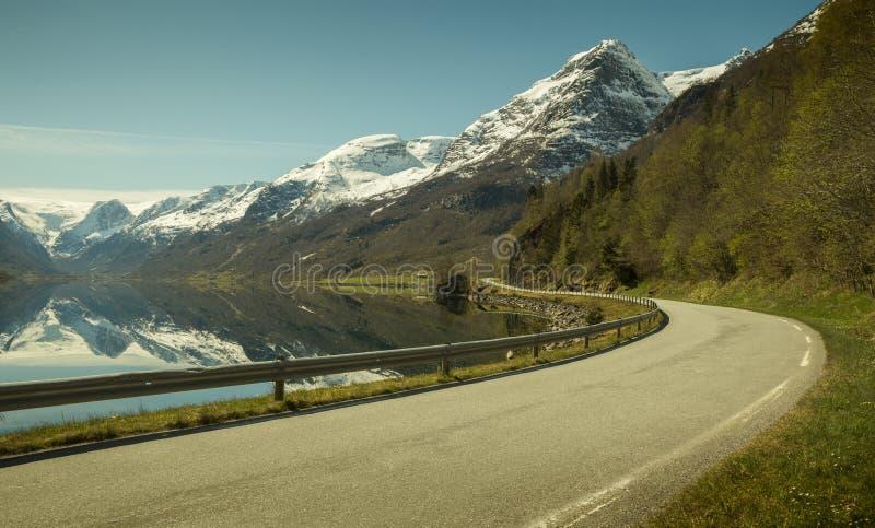 Väg längs en fiord, Norge arkivfoto