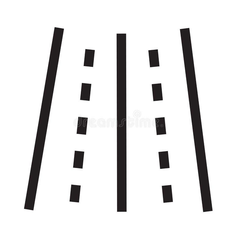 Väg med brutna linjer symbolsvektortecken och symbol som isoleras på w stock illustrationer