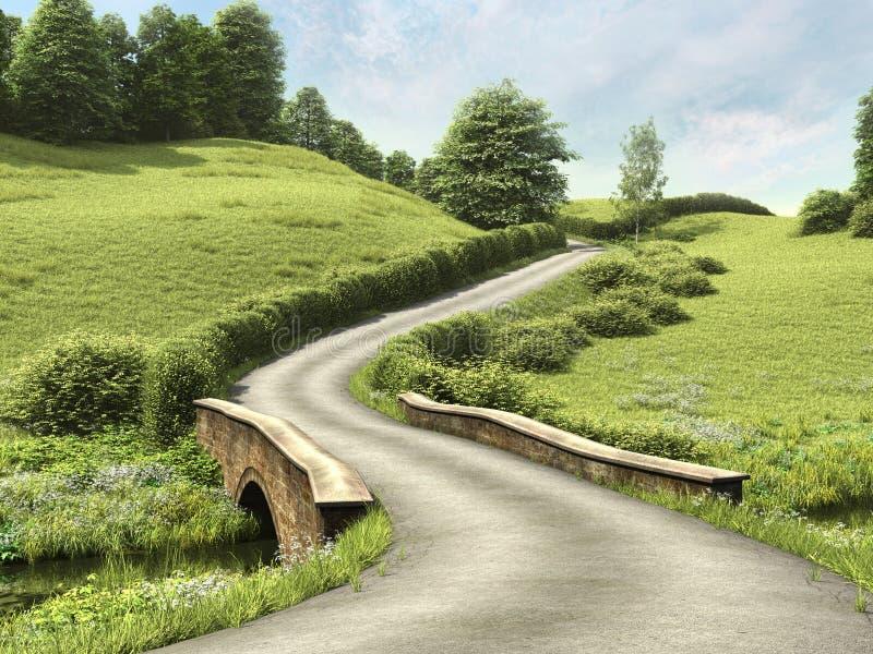Väg med en bro royaltyfri illustrationer
