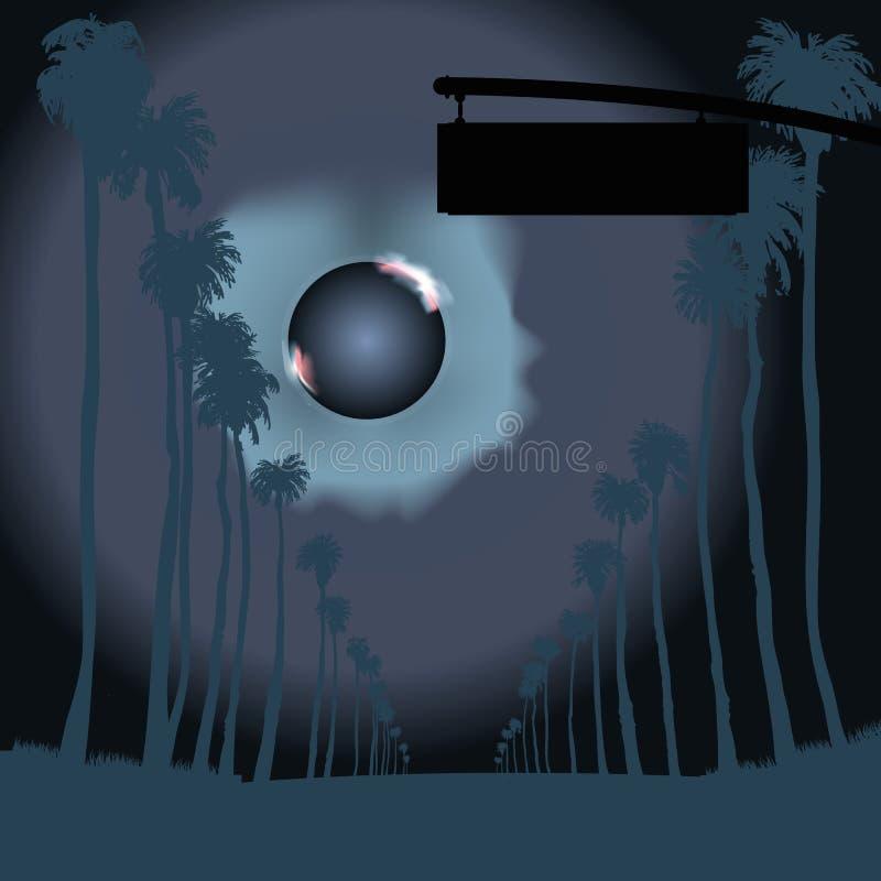 Väg med högväxta palmträd i natten stock illustrationer