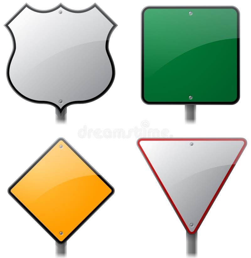 Väg- och huvudvägtecken vektor illustrationer