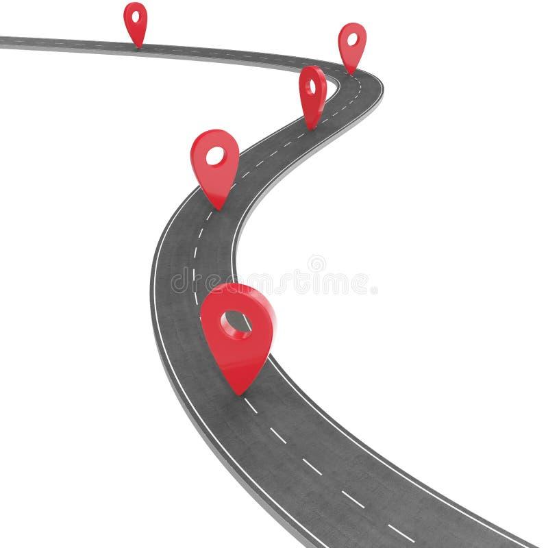 Väg som är infographic med stiftpekaren Navigeringbegrepp med stiftpekaren Översiktsmarkörpekare på färdplan cartography vektor illustrationer