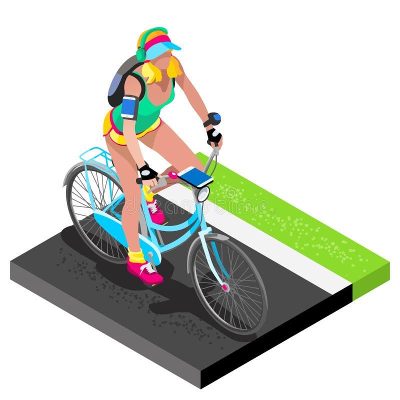 Väg som cyklar att utarbeta för cyklist 3D sänker den isometriska cyklisten på cykeln vektor illustrationer