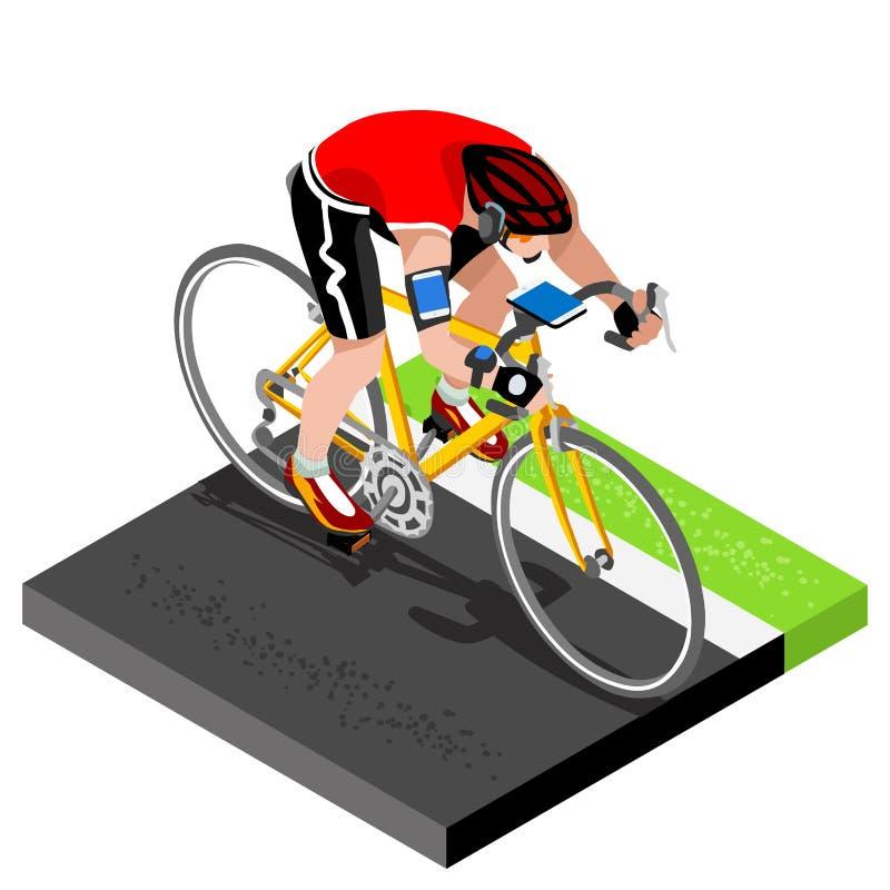 Väg som cyklar att utarbeta för cyklist 3D sänker den isometriska cyklisten på cykeln royaltyfri illustrationer