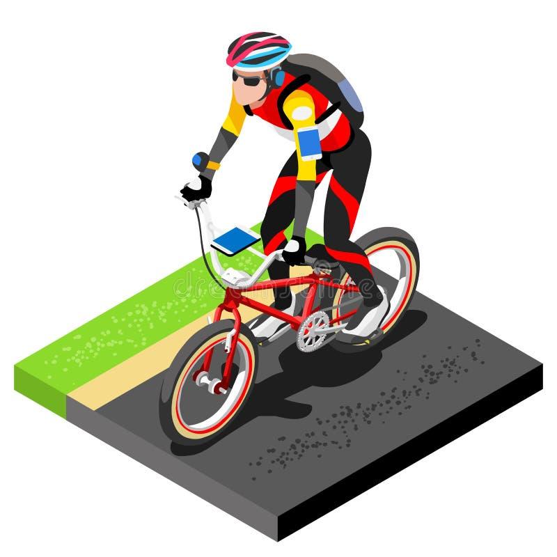 Väg som cyklar att utarbeta för cyklist 3D sänker den isometriska cyklisten på cykeln Utomhus- utarbetande väg som cyklar övninga vektor illustrationer