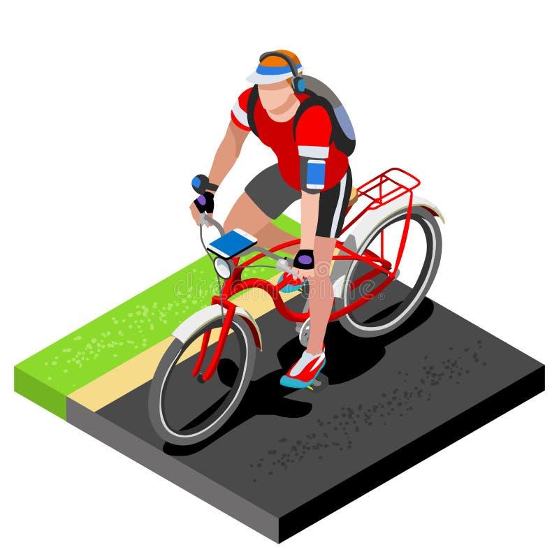 Väg som cyklar att utarbeta för cyklist 3D sänker den isometriska cyklisten på cykeln Utomhus- utarbetande väg som cyklar övninga royaltyfri illustrationer