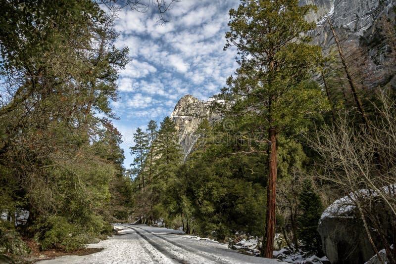 Väg som täckas med snö på vintern - Yosemite medborgare Parl, Kalifornien, USA arkivfoto